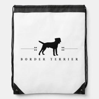 Border Terrier silhouette -1- Drawstring Backpacks