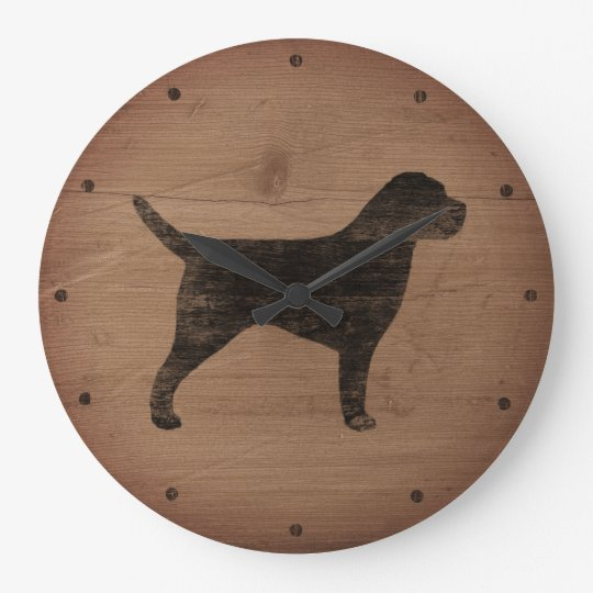 Border Terrier Silhouette Rustic Style Large Clock