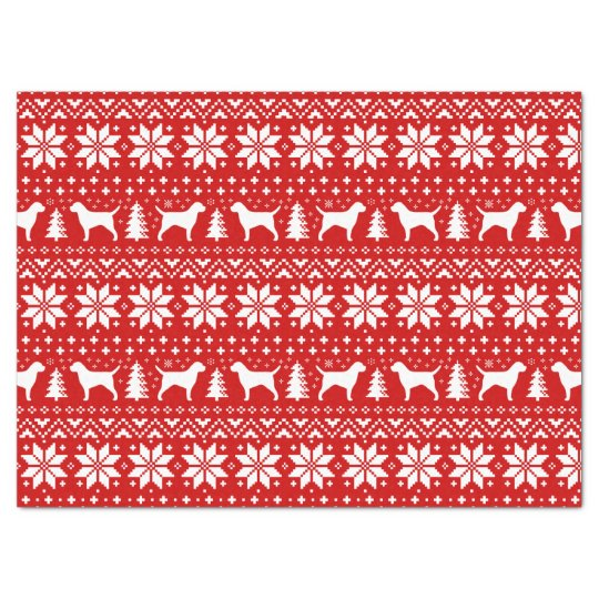 Border Terrier Silhouettes Christmas Pattern Red Tissue Paper