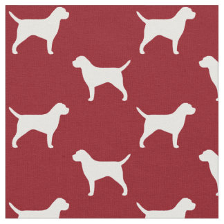 Border Terrier Silhouettes Pattern Red Fabric