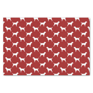 Border Terrier Silhouettes Pattern Red Tissue Paper