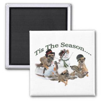 Border Terrier Tis The Season Fridge Magnet