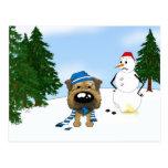 Border Terrier Winter Scene Postcards