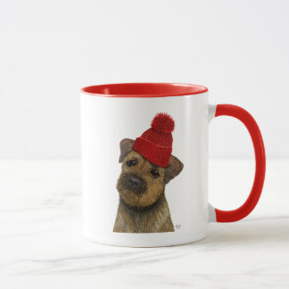 Border Terrier with Red Bobble Hat 3