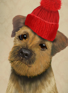 9d445e8e57a Border Terrier with Red Bobble Hat iPad Air Cover