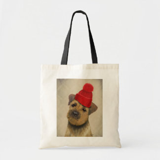 Border Terrier with Red Bobble Hat Tote Bag