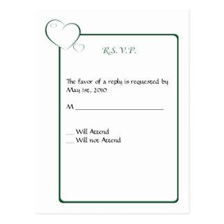 Bordered Hearts Emerald Postcard