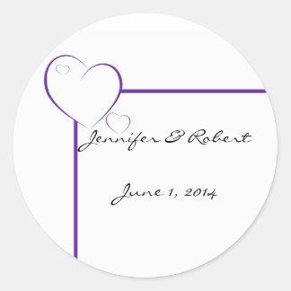 Bordered Hearts in Tanzanite Purple Round Sticker