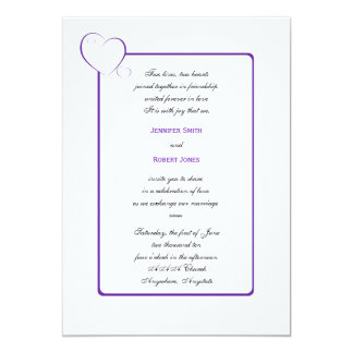 Bordered Hearts Purple Wedding Invitation
