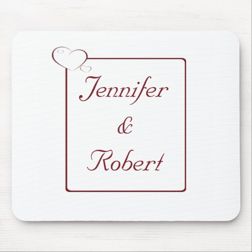 Bordered Hearts Ruby Mouse Pads