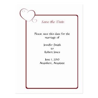 Bordered Hearts Ruby Postcard