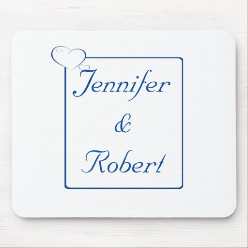 Bordered Hearts Sapphire Mousepads