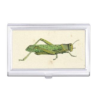 Bordered Print of Green Grasshopper Business Card Holder