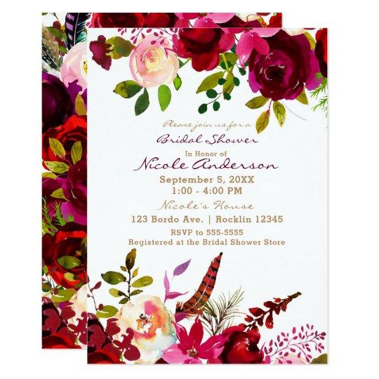 Bordo Burgundy Maroon Boho Floral Bridal Shower Card