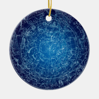 Boreal Hemysphere Sky constellations Round Ceramic Decoration