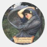 """Boreas"" J. W. Waterhouse Pre-Raphaelite Bookplate Round Sticker"
