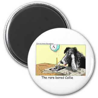 Bored Border Collie Funny Gifts Tees Collectibles 6 Cm Round Magnet