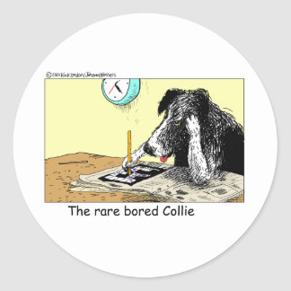 Bored Border Collie Funny Gifts Tees Collectibles Round Sticker