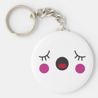 Bored Face Basic Round Button Key Ring