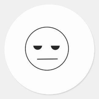 Bored Face Round Sticker