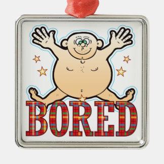 Bored Fat Man Silver-Colored Square Decoration