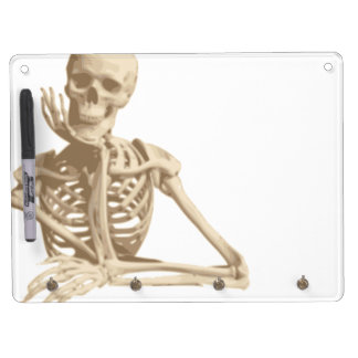 Bored Skeleton Dry Erase Board With Key Ring Holder