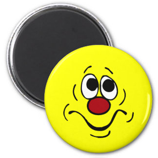 Bored Smiley Face Grumpey 6 Cm Round Magnet