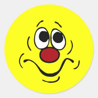 Bored Smiley Face Grumpey Round Sticker