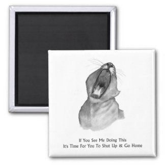 Bored, Yawning Lion: Pencil: Shut Up & Go Home Square Magnet