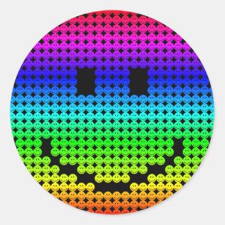 Borg Smiley Rainbow Round Sticker