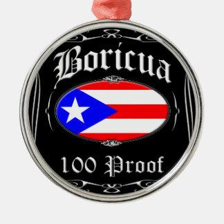 Boricua 100 Proof Silver-Colored Round Decoration