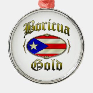 Boricua Gold Silver-Colored Round Decoration