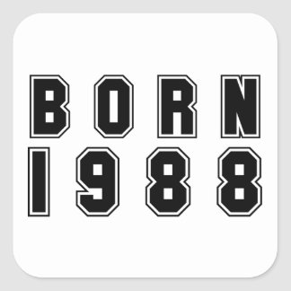 Born 1988 black font square sticker