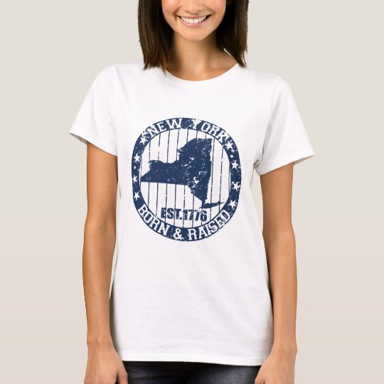 born and raised new york dark blue T-Shirt