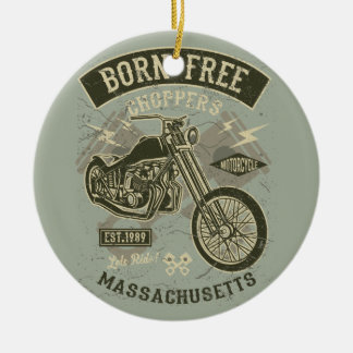 Born Free Choppers Let's Ride Harley bikers Christmas Ornament