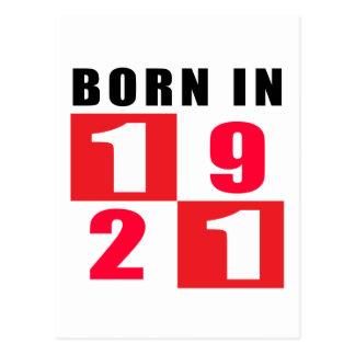 Born In 1921 Birthday Designs Postcard