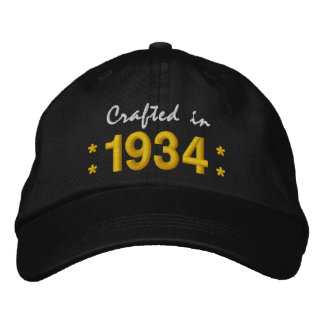 Born in 1934 or Any Year 80th Birthday V02 BLACK Embroidered Hat