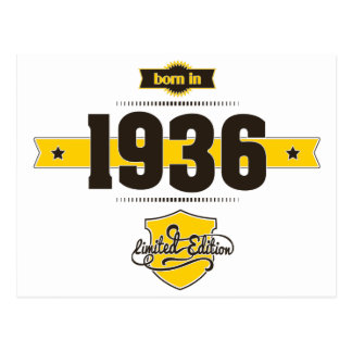 born in 1936 (choco&yellow) postcard