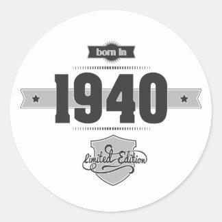 Born in 1940 (Dark&Lightgrey) Classic Round Sticker
