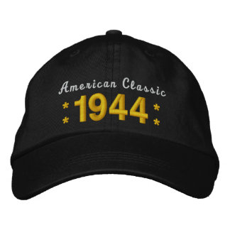 Born in 1944 or Any Year 70th Birthday V01A BLACK Embroidered Hat