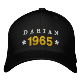 Born in 1965 or Any Year 50th Birthday V03A BLACK Embroidered Baseball Caps