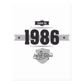 Born in 1986 (Dark&Lightgrey) Postcard