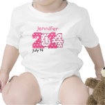 Born in 2014 Big Numbers Pink and White V02 Baby Bodysuits
