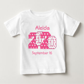 Born in 2020 Big Numbers Pink and White V08 Shirts