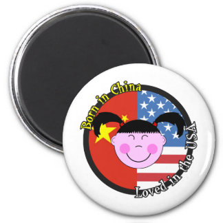 Born in China Loved in the USA Big Girl 6 Cm Round Magnet