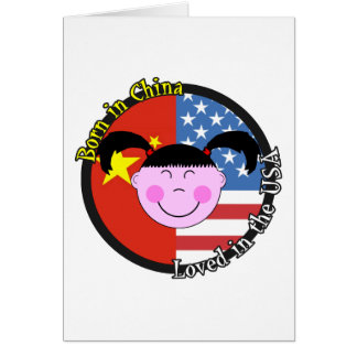 Born in China Loved in the USA Big Girl Greeting Card