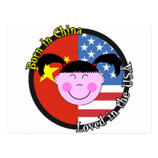 Born in China Loved in the USA Big Girl Postcard