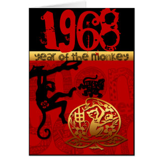 Born in Monkey Year 1968 Chinese astrology Zodiac Card