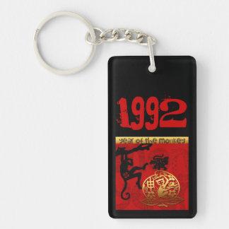 Born in Monkey Year 1992 - Monogram Personalized Double-Sided Rectangular Acrylic Key Ring