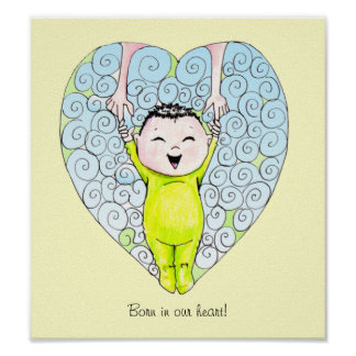 Born in our Heart Baby Boy wall art